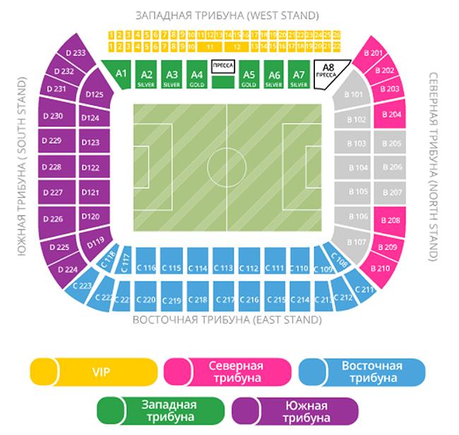 Стадион краснодар схема трибун по секторам