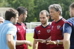 Тренировка сборной России по футболу